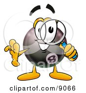 Clipart Picture Of An Eight Ball Mascot Cartoon Character Looking Through A Magnifying Glass by Toons4Biz
