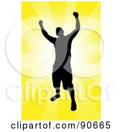 Royalty Free RF Clipart Illustration Of A Successful Male Silhouetted Over A Yellow Burst by Arena Creative