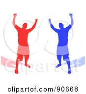 Royalty Free RF Clipart Illustration Of Red And Blue Silhouetted Men