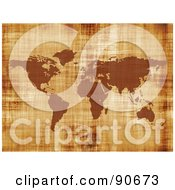 Royalty Free RF Clipart Illustration Of A Grungy Textured World Map In Brown by Arena Creative