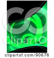 Royalty Free RF Clipart Illustration Of A Green Fractal Tunnel And Black Background