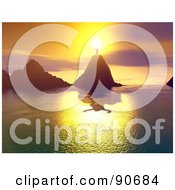 Royalty Free RF Clipart Illustration Of A Man Standing On A Mountain Peak In Front Of The Sun