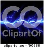 Royalty Free RF Clipart Illustration Of Blue Horizontal Lightning Striking Over Black by Arena Creative