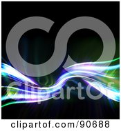 Royalty Free RF Clipart Illustration Of A Green And Purple Fractal Wave With Bright Lights On Black