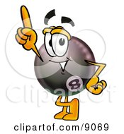 Clipart Picture Of An Eight Ball Mascot Cartoon Character Pointing Upwards by Toons4Biz
