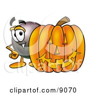 Clipart Picture Of An Eight Ball Mascot Cartoon Character With A Carved Halloween Pumpkin by Toons4Biz