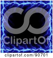 Royalty Free RF Clipart Illustration Of A Black Background With Blue Lightning Edges