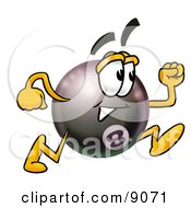 Clipart Picture Of An Eight Ball Mascot Cartoon Character Running by Toons4Biz