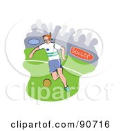 Royalty Free RF Clipart Illustration Of A Soccer Player Kicking On A Field Version 3 by Prawny
