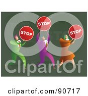 Royalty Free RF Clipart Illustration Of A Successful Business Team Carrying Stop Signs