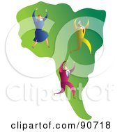 Royalty Free RF Clipart Illustration Of A Successful Business Team On A Map Of South America