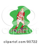 Royalty Free RF Clipart Illustration Of A Muddy Rugby Football Player Version 2 by Prawny