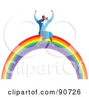 Royalty Free RF Clipart Illustration Of A Successful Businesswoman Sitting On A Rainbow