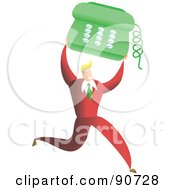 Royalty Free RF Clipart Illustration Of A Successful Businessman Carrying A Phone
