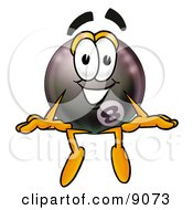 Clipart Picture Of An Eight Ball Mascot Cartoon Character Sitting by Toons4Biz