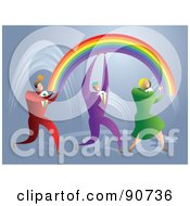 Successful Business Team Carrying Rainbows