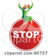 Royalty Free RF Clipart Illustration Of A Successful Businesswoman Sitting On A Stop Sign