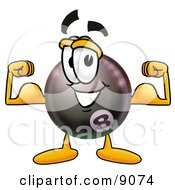 Clipart Picture Of An Eight Ball Mascot Cartoon Character Flexing His Arm Muscles by Toons4Biz