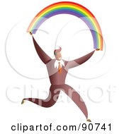 Royalty Free RF Clipart Illustration Of A Successful Businessman Carrying A Rainbow by Prawny