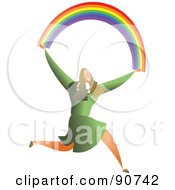 Royalty Free RF Clipart Illustration Of A Successful Businesswoman Carrying A Rainbow by Prawny