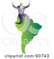 Royalty Free RF Clipart Illustration Of A Successful Businessman Sitting On A Map Of South America by Prawny