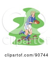 Royalty Free RF Clipart Illustration Of A Muddy Rugby Football Player Version 1 by Prawny
