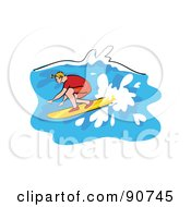 Royalty Free RF Clipart Illustration Of A Male Surfer Riding In A Wave by Prawny