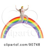 Royalty Free RF Clipart Illustration Of A Successful Businessman Sitting On A Rainbow by Prawny