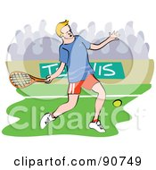 Royalty Free RF Clipart Illustration Of A Male Tennis Player Swinging A Racket