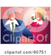 Royalty Free RF Clipart Illustration Of A Romantic Couple Embracing With Hearts On Pink by Prawny