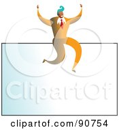 Royalty Free RF Clipart Illustration Of A Successful Businessman Sitting On Top Of A Blank Business Card