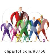 Royalty Free RF Clipart Illustration Of A Diverse Team Of Large And Small Businessmen