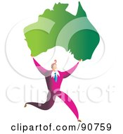 Royalty Free RF Clipart Illustration Of A Successful Businessman Carrying A Map Of Australia