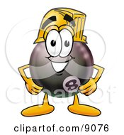 Clipart Picture Of An Eight Ball Mascot Cartoon Character Wearing A Helmet by Toons4Biz