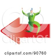 Royalty Free RF Clipart Illustration Of A Successful Businessman Sitting On An Arrow by Prawny