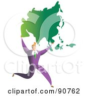 Royalty Free RF Clipart Illustration Of A Successful Businessman Carrying A Map Of Asia