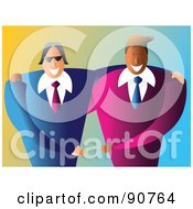 Royalty Free RF Clipart Illustration Of Two Happy Male Business Partners by Prawny