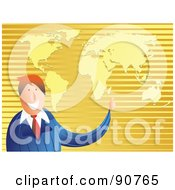 Royalty Free RF Clipart Illustration Of A Friendly Businessman Pointing To A Golden Map by Prawny