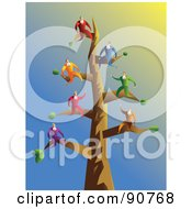 Team Of Businessmen On Tree Branches