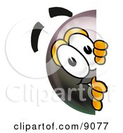Clipart Picture Of An Eight Ball Mascot Cartoon Character Peeking Around A Corner by Toons4Biz