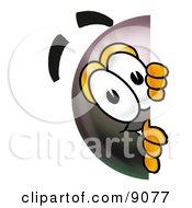 Eight Ball Mascot Cartoon Character Peeking Around A Corner