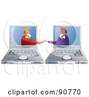 Royalty Free RF Clipart Illustration Of A Businessmen Shaking Hands From Laptop Screens