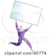 Royalty Free RF Clipart Illustration Of A Successful Businessman Carrying A Blank Business Card Over His Head