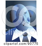 Royalty Free RF Clipart Illustration Of A Sad And Crying Blue Businessman Over Blue