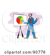 Royalty Free RF Clipart Illustration Of A Businessman Standing By A Pie Chart by Prawny