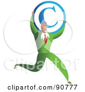 Royalty Free RF Clipart Illustration Of A Successful Businessman Carrying A Copyright Symbol by Prawny