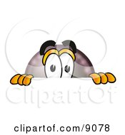 Clipart Picture Of An Eight Ball Mascot Cartoon Character Peeking Over A Surface by Toons4Biz