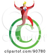 Royalty Free RF Clipart Illustration Of A Successful Businessman Sitting On A Copyright Symbol by Prawny