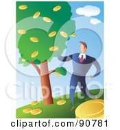 Royalty Free RF Clipart Illustration Of A Successful Businessman Picking Coins From A Money Tree by Prawny