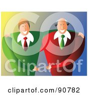 Royalty Free RF Clipart Illustration Of Two Friendly Businessmen Standing Side By Side